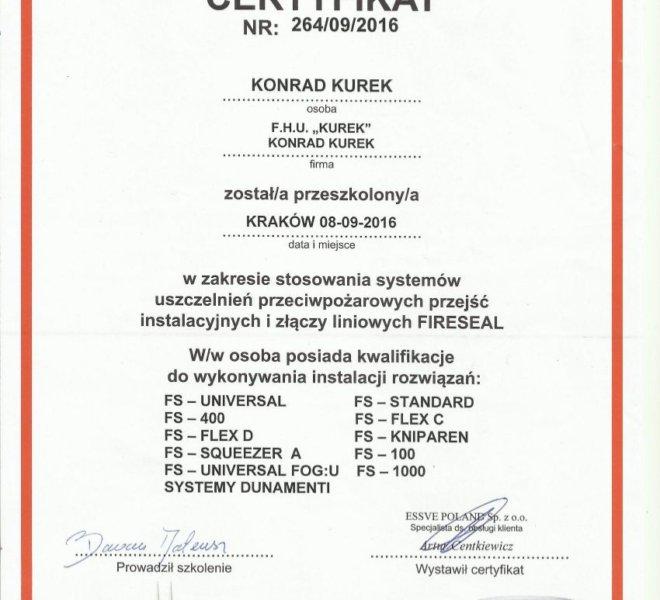 FireSeal certyfikat