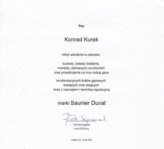 Saunier Duval - Certyfikat 2018