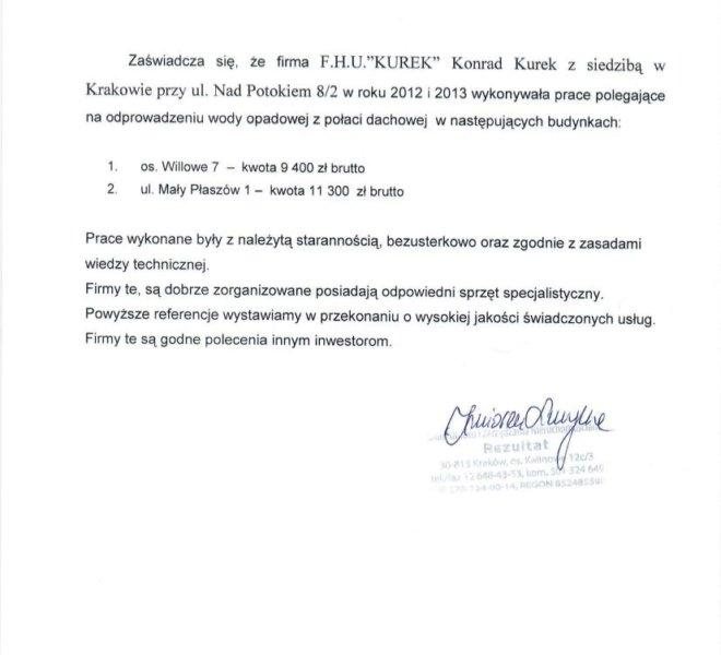 Referencje KUREK Konrad Kurek