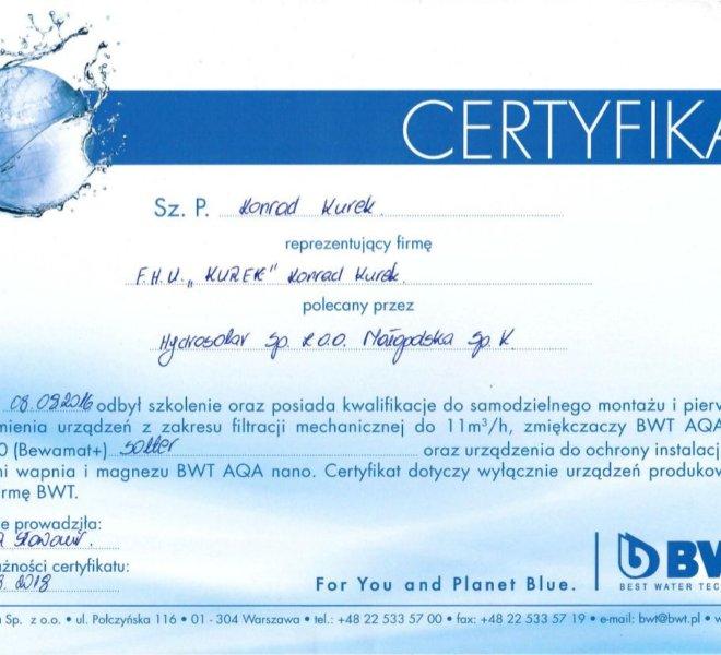 BWT - Certyfikat 2016-2018