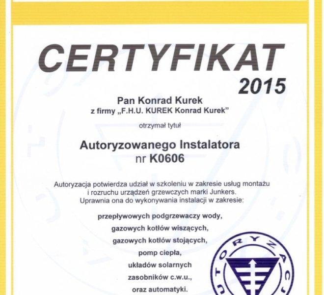 Certyfikat Junkers