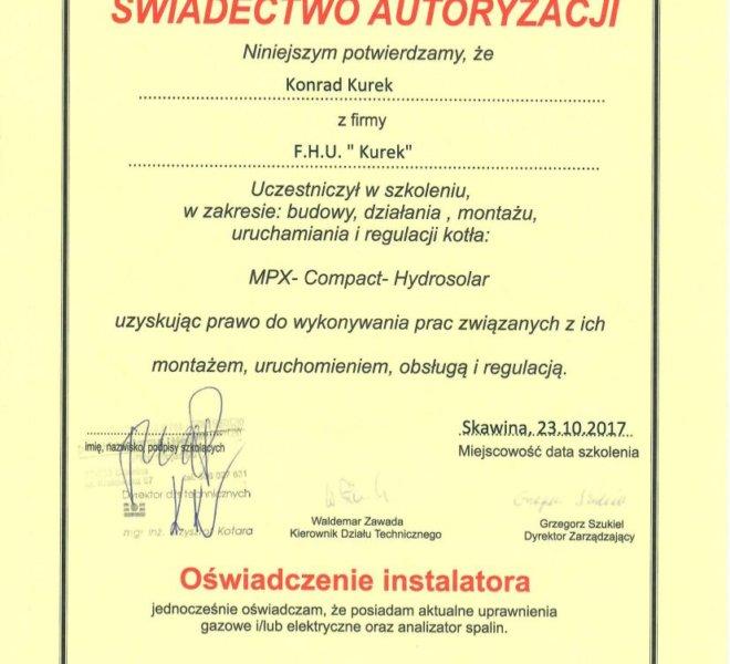 DeDietrich MPX - Certyfikat