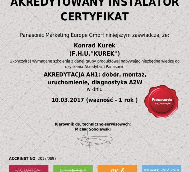 Panasonic Certyfikat