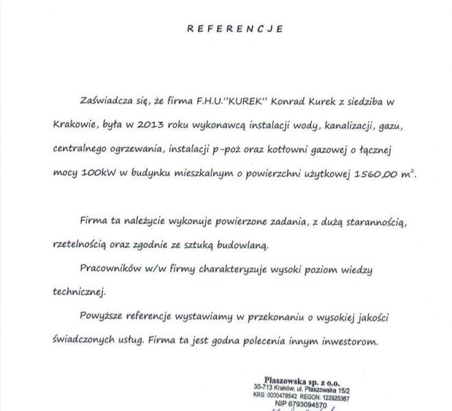 Referencje KUREK Konrad Kurek Kraków