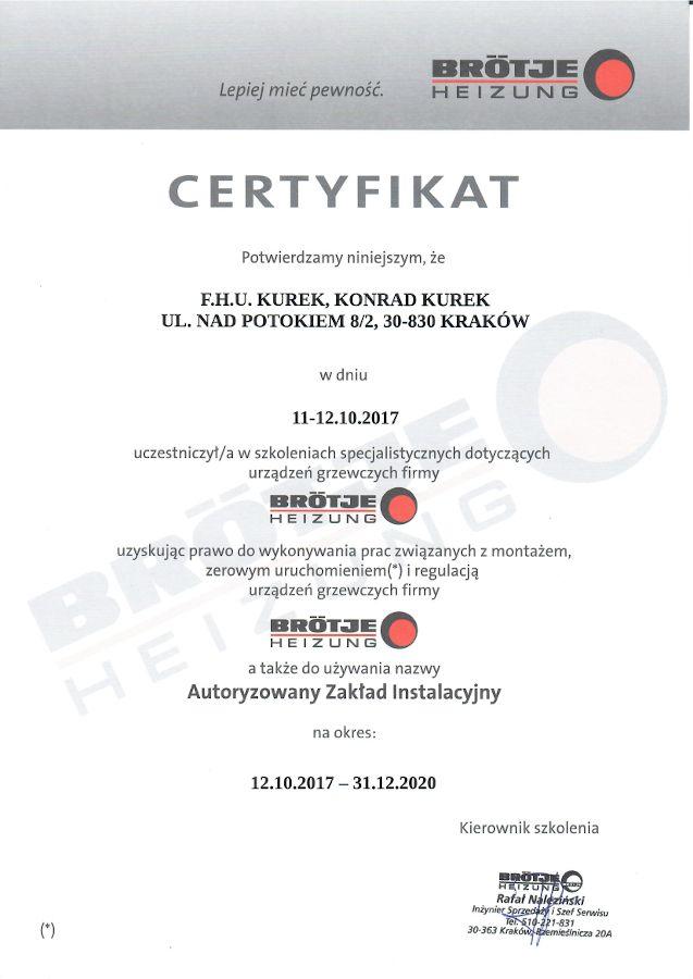Brotje Certyfikat AZI 2017-2020