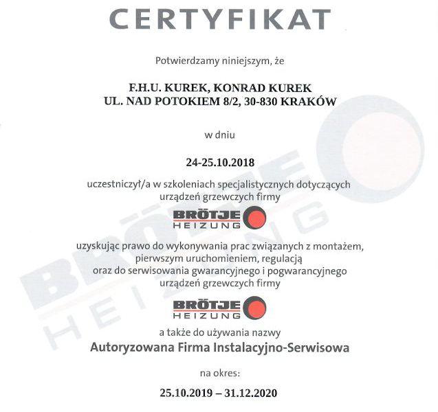 Brotje Certyfikat Serwis 2018-2020